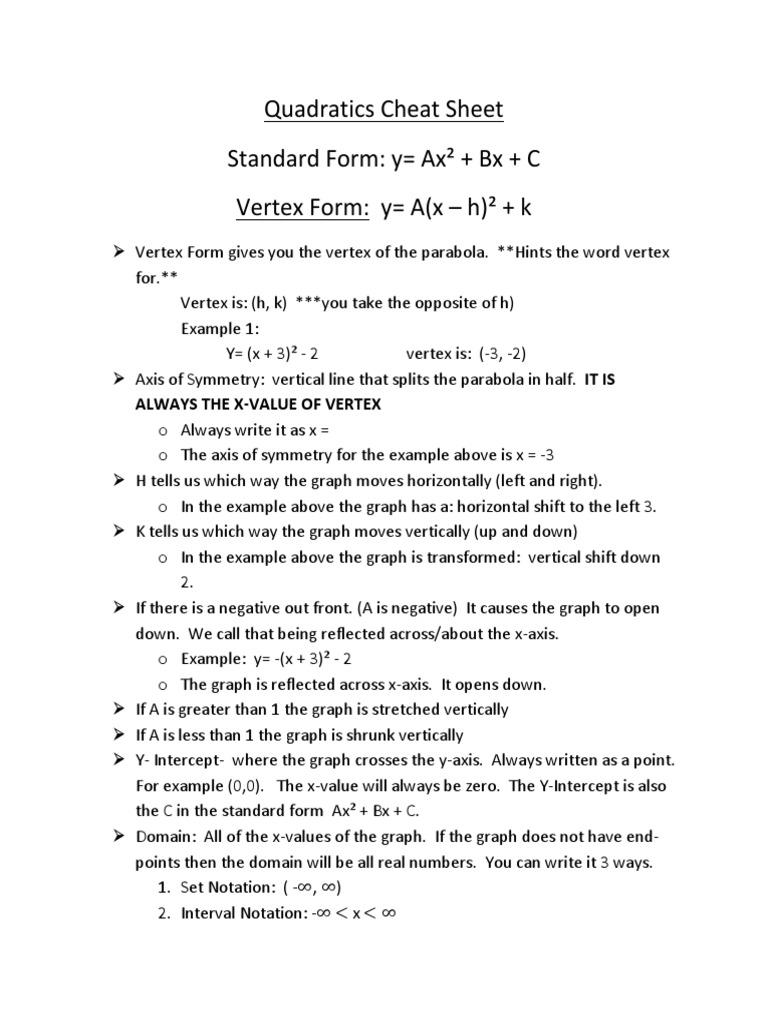 Quadratics cheat sheet quadratic equation mathematical relations falaconquin