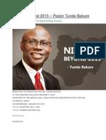 Nigeria Beyond 2015 – Pastor Tunde Bakare