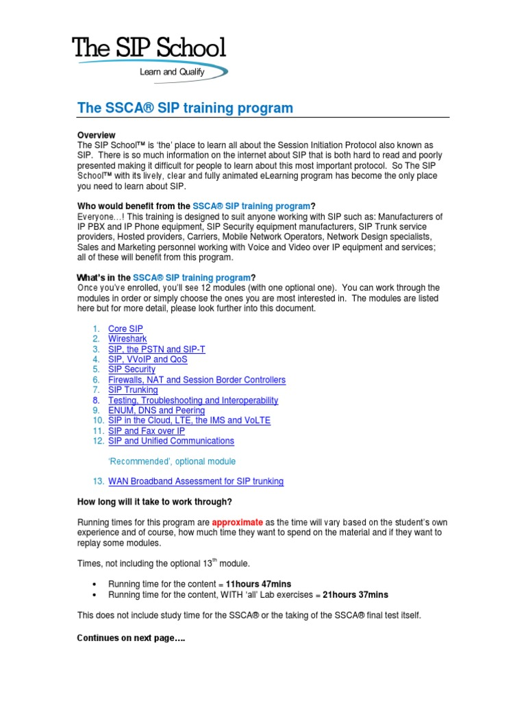 The SSCA SIP Training Program Course Outline | Session Initiation Protocol  | Voice Over Ip