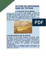 Construcción de Artesanía a Base de Totora