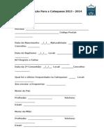 Ficha de Inscrição Catequese 2013 - 2014