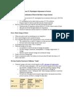 Human Physiology Adjustment to Exer