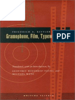 Kittler Friedrich Gramophone Film Typewriter
