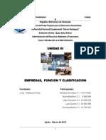 INFORME INT. ADMINISTRACION -TRABAJO GRUPO II - UNIDAD III  - EMPRESAS, FUNCION Y CLASIFICACION[1].docx