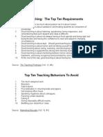 Good Teaching Top Ten Requirements