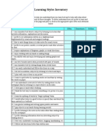 Learning Style Inventory Worksheet Web Resource