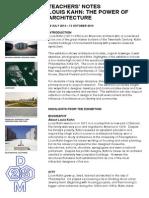 Teacher Exhibition Notes Louis Kahn The Power of Architecture