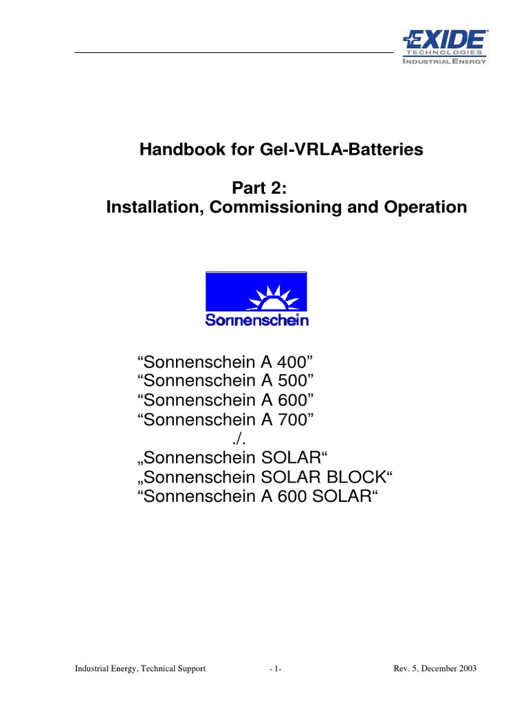 Handbook for Gel-VRLA Batteries _ Part 2 _ EXIDE Technologies.pdf |  Rechargeable Battery | Battery (Electricity)