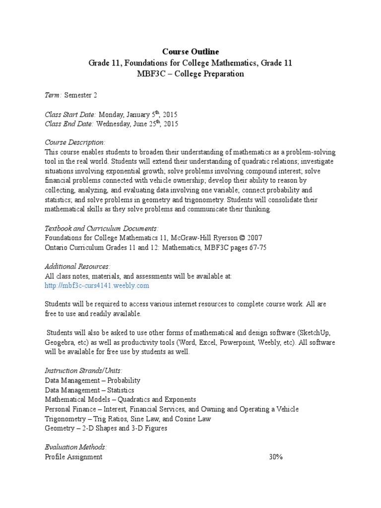 mbf3c course outline | Probability | Trigonometric Functions