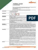 Technisches Merkblatt RÖFIX PURWALL IB 025 PUR PIR-Fassadendämmplatte DC00121 (PIR Renseigné Epbd)