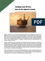Dwindling Crude Oil Price on Nigerian Economy