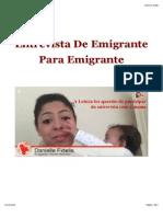 Entrevista de Emigrante Para Emigrante Com Danielle Fidelis