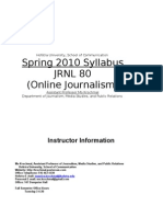 Spring 2010 Syllabus JRNL 80 (Online Journalism)