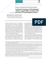 Sabourin & Cooper 2014 the First International Congress of Physiological Psychology