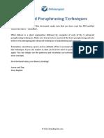 Paraphrasing Techniques - Adv