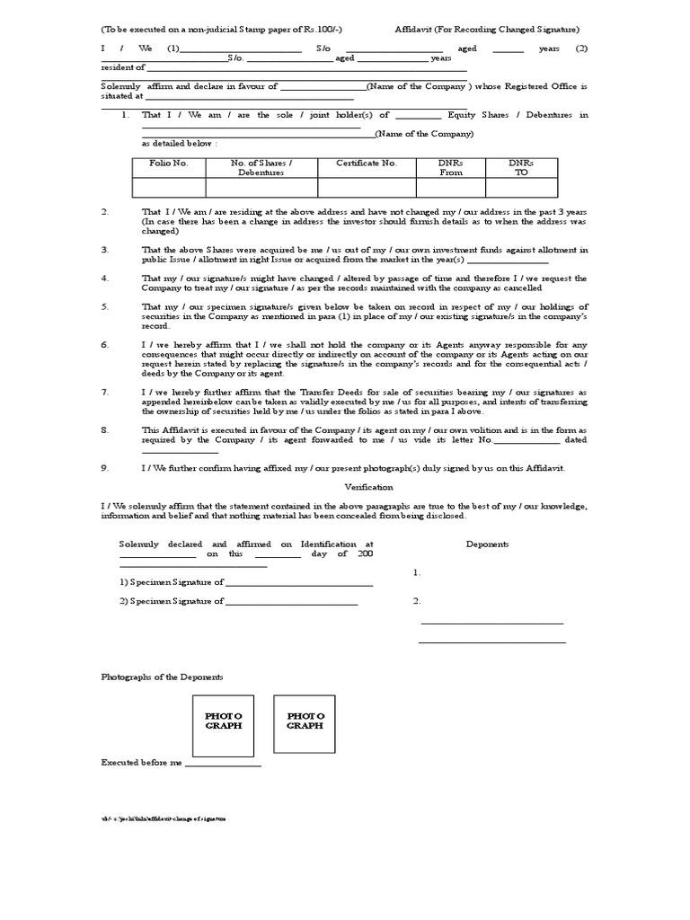 Affidavit- Change of Signature   Investing   Government