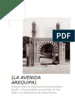 Av. Arequipa. Su importancia en la urbanística limeña  y funcionalidad en el distrito de San Isidro y la urbanización de Santa Beatriz