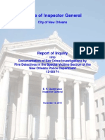 Report of Inquiry into Documentation of Sex Crime Investigations by Five Detectives in the Special Victims Section of the New Orleans Police Department
