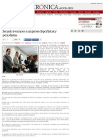 11-03-15 La Crónica de Hoy _ Senado reconoce a mujeres deportistas y periodistas