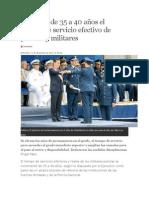 Aumenta de 35 a 40 Años El Tiempo de Servicio Efectivo de Policías y Militares