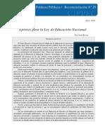 Aportes Para La Ley de Educacion Nacional, Rivas, 2006