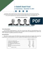 Mario Gabelli's Asset Fund Q4 2014 Commentary