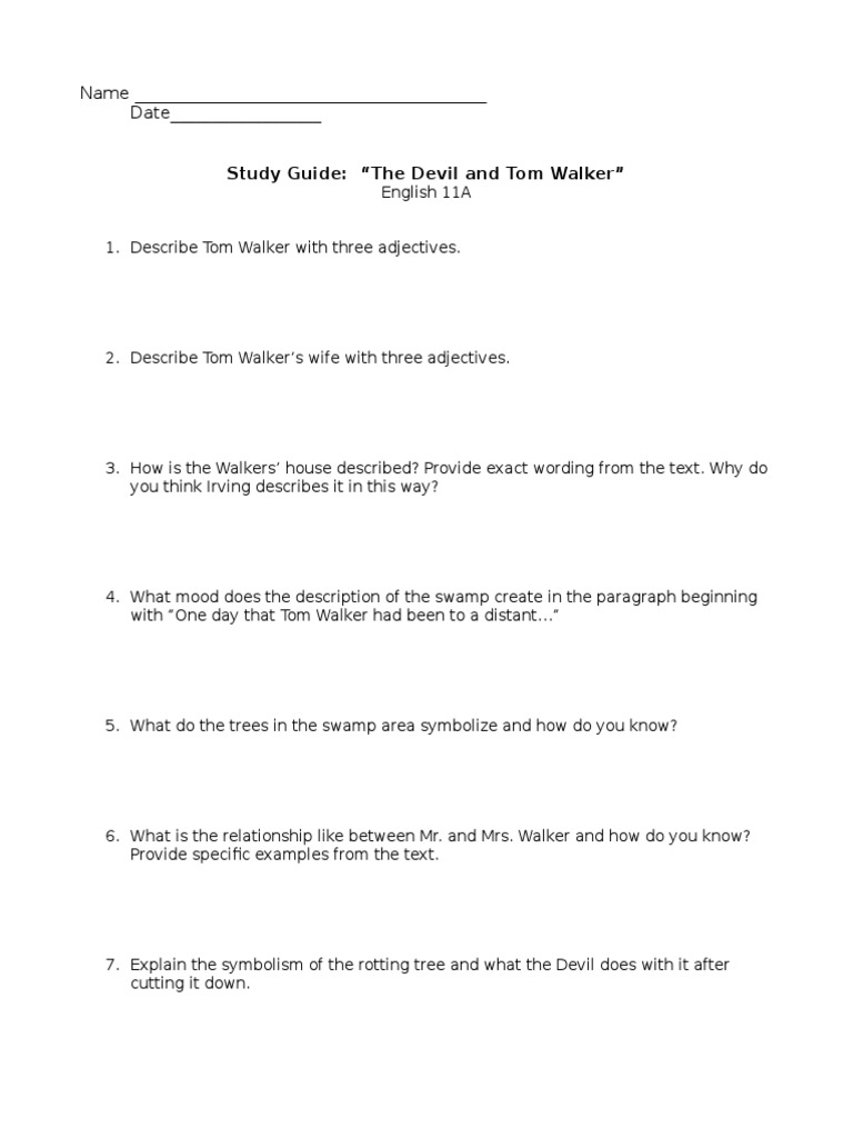 The Devil And Tom Walker Study Questions Narration