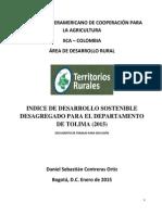 INDICE DE DESARROLLO SOSTENIBLE TOLIMA (2015)