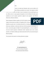 Carta a los egresados de la Universidad Antonio Ruiz de Montoya
