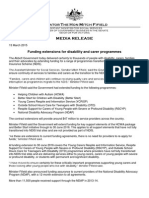 Media Release from Senator Fifield - Certainty of Funding for Range of Disability and Carers Programmes