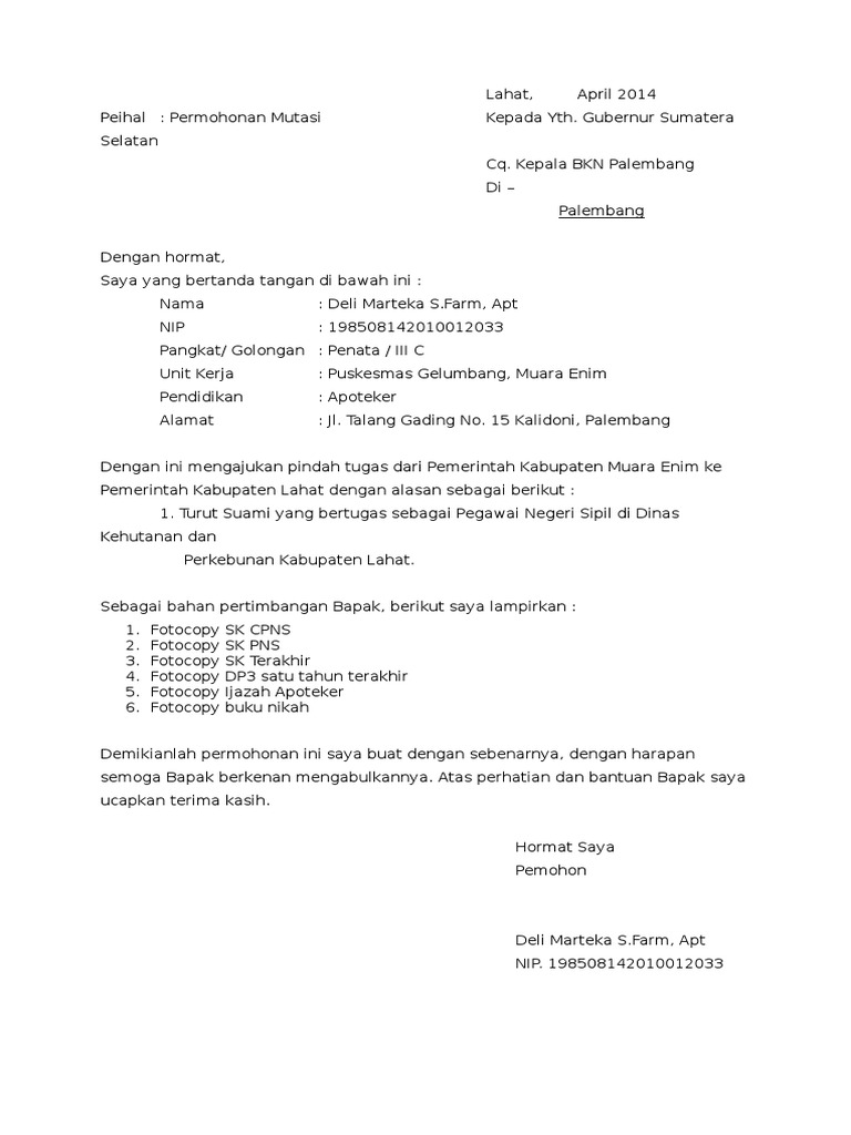 Contoh Surat Mutasi Kerja