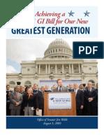 Timeline of Senator Webb's Efforts to pass the GI Bill