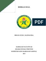 Soal Ksm Propinsi 2013 Mts Matematika