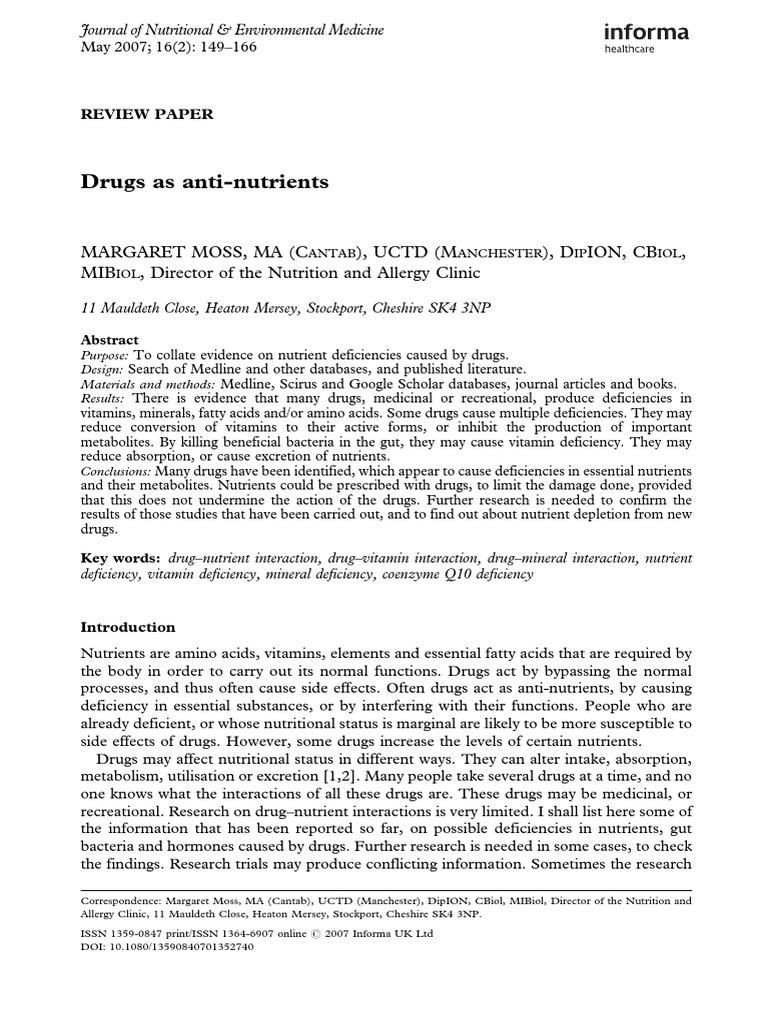 Drugs as Anti-nutrients | Cholesterol | Nutrition