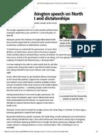 Schmidt's Washington Speech on North Korea, Internet and Dictatorships