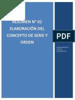 RESUMEN N°02 ELABORACIÓN DEL CONCEPTO DE SERIE Y ORDEN