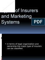Insurance Services - Types of Insurers and Marketing System