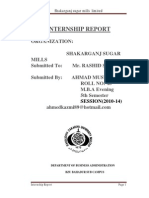 Internship Report on Shakarganj Sugar Mill by SYED AHMAD MUSTAFA