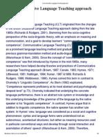 Communicative Language Teaching Approach