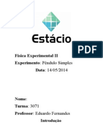 Relatório de Física Experimental 2 - Pêndulo Simples