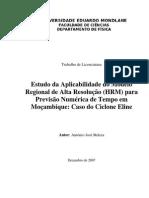 Estudo da Aplicabilidade do Modelo Regional de Alta Resolucao (HRM) para a Previsao Numerica de Tempo em Mocambique
