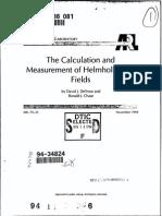Calculation and measurement of Helmholtz Coils fields