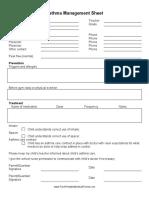 Asthma Management Sheet