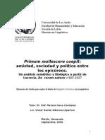 Amistad, Sociedad y Política Entre Los Epicúreos.[D.albornoz]
