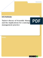 Taylor's theory of Scientific Management and the implications for contemporary management practice