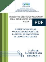 Justificación de Las Opciones de Respuesta de La Prueba de Diagnóstico Ciencias Naturales - Segundo Año de Bachillerato (PRAEM 2014)