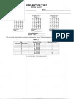 King Devick Score Sheet