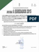 Citas a Egresados 2015 - Recepción Extemporánea de Doctos