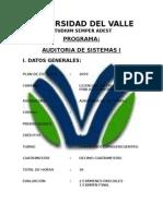 Prog.auditoria en Sistemas I