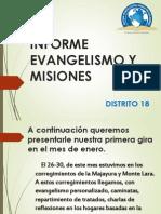 Informe Evangelismo y Misiones Dto 18